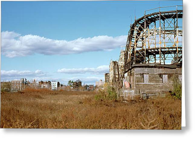 Rollercoaster Photographs Greeting Cards - Abandoned Rollercoaster In An Amusement Greeting Card by Panoramic Images