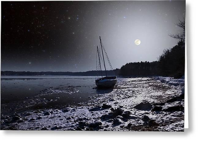 Sea Moon Full Moon Greeting Cards - Abandoned Sailboat Greeting Card by Larry Landolfi