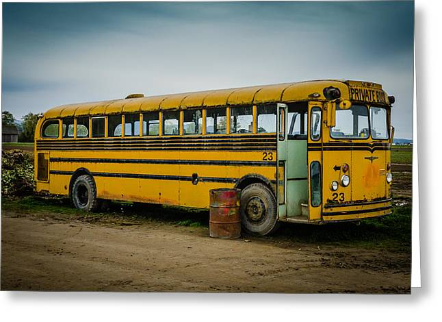 School Bus Print Greeting Cards - Abandoned School Bus Greeting Card by Puget  Exposure
