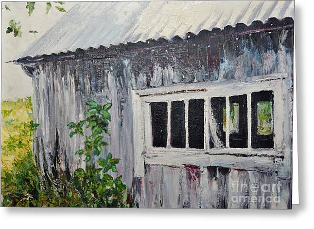 Shed Paintings Greeting Cards - Abandoned shed Greeting Card by Elaine Berger