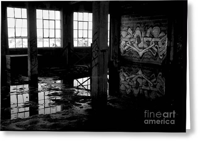 Abandoned Space II - Bw Greeting Card by James Aiken