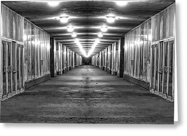 Bankrupt Greeting Cards - Abandoned Strip Mall Panoramic Greeting Card by Tom Mc Nemar