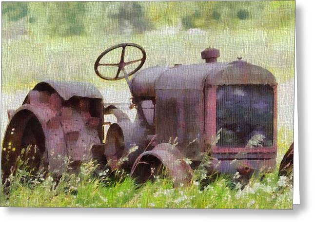 Steering Paintings Greeting Cards - Abandoned Tractor On The Farm Greeting Card by Dan Sproul