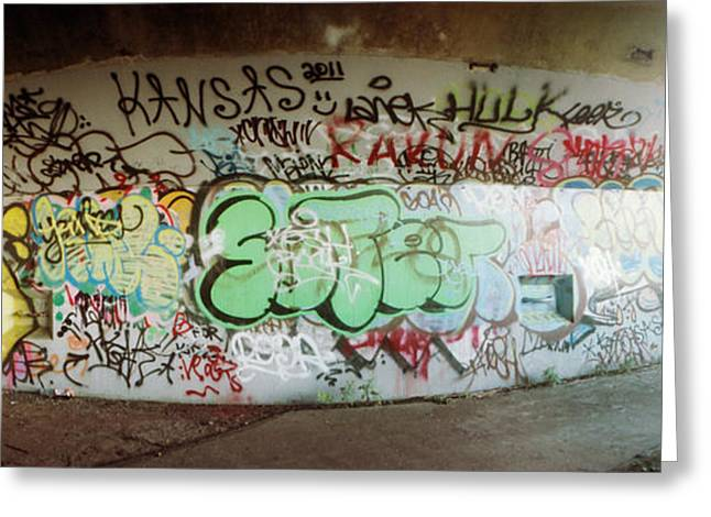 York Beach Greeting Cards - Abandoned Underpass Wall Covered Greeting Card by Panoramic Images