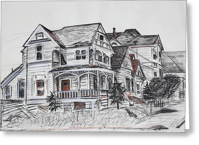 White Frame House Drawings Greeting Cards - Abandoned Victorian and Neighbors in Oakland California Greeting Card by Asha Carolyn Young