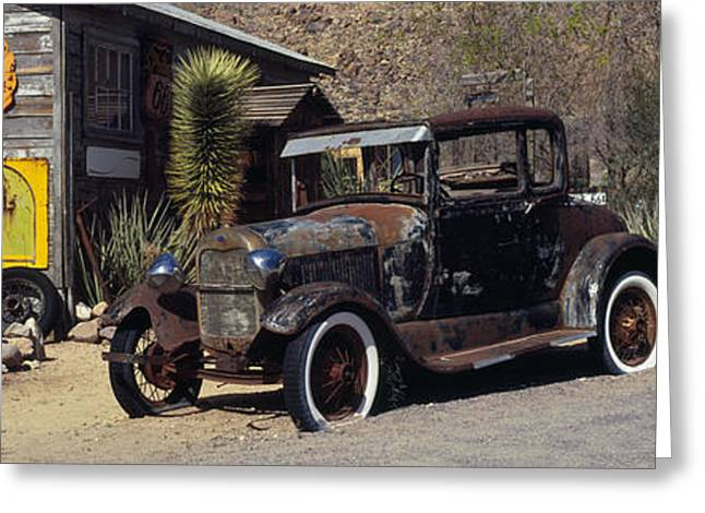 Run Down Greeting Cards - Abandoned Vintage Car At The Roadside Greeting Card by Panoramic Images
