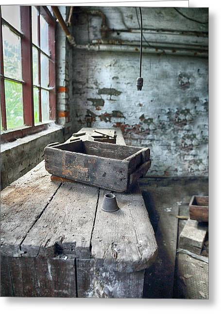 Atmospheric Greeting Cards - Abandoned vintage work bench Greeting Card by Russ Dixon