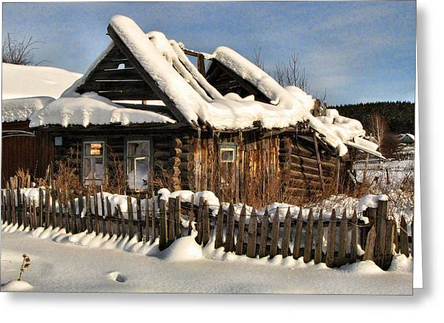 Winter Abondoned Cabin Greeting Cards - Abandoned Greeting Card by Vladimir Kholostykh