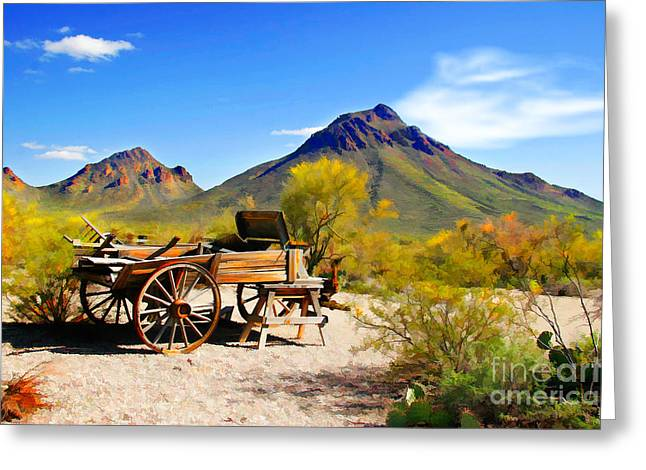 Wagon Wheels Digital Art Greeting Cards - Abandoned Wagon Greeting Card by Michael Petrizzo