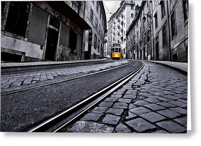 Tram Photographs Greeting Cards - Abandoned way Greeting Card by Jorge Maia