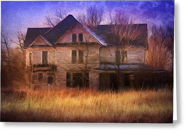 Abandoned House Mixed Media Greeting Cards - Abandonment At Nightfall Greeting Card by Georgiana Romanovna