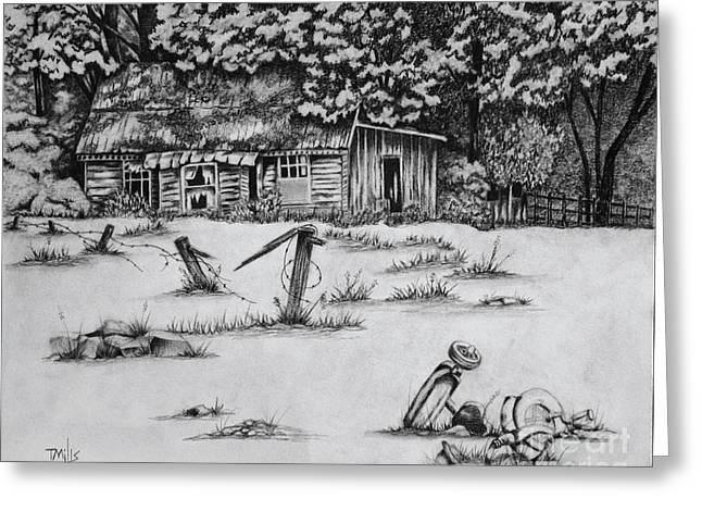 Dilapidated Drawings Greeting Cards - Abandonment Greeting Card by Terri Mills