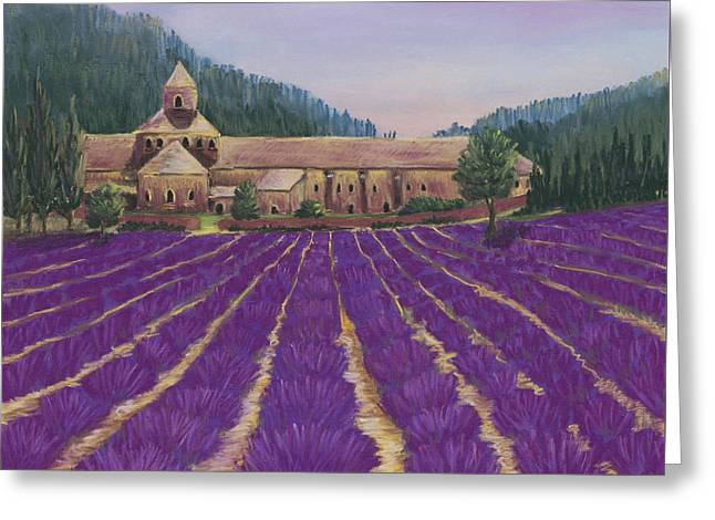 Lavender Fields Greeting Cards - Abbaye Notre-Dame de Senanque Greeting Card by Anastasiya Malakhova