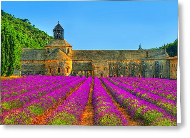 South Of France Greeting Cards - Abbaye Notre-Dame de Senanque Greeting Card by Midori Chan