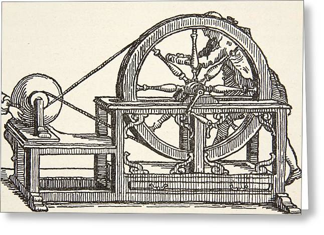 Physicist Greeting Cards - Abbe Nollets Electricity Machine, 1746 Greeting Card by French School
