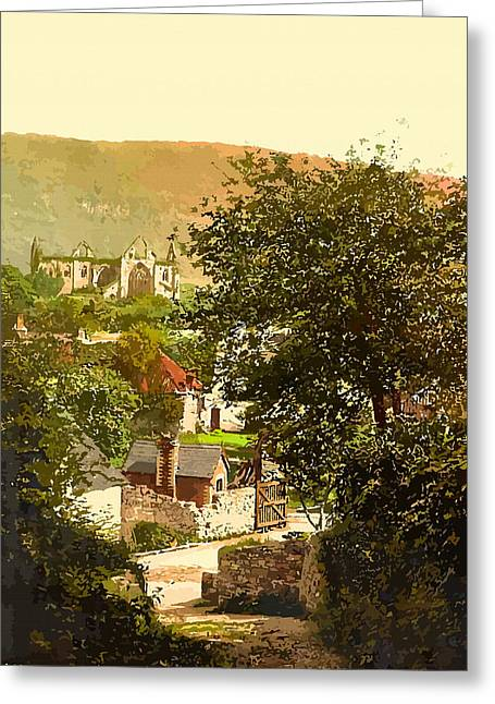 19th Century America Digital Art Greeting Cards - Abbey and village Tintern - England Greeting Card by Don Kuing
