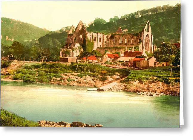 19th Century America Digital Art Greeting Cards - Abbey from the ferry-Tintern- England Greeting Card by Don Kuing