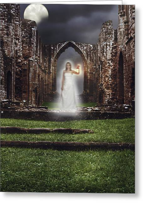 Ghostly Greeting Cards - Abbey Ghost Greeting Card by Amanda And Christopher Elwell