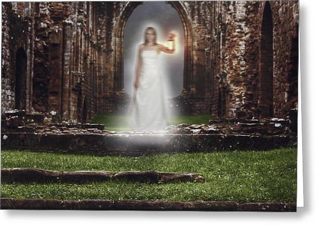Abbey Ghost Greeting Card by Amanda And Christopher Elwell