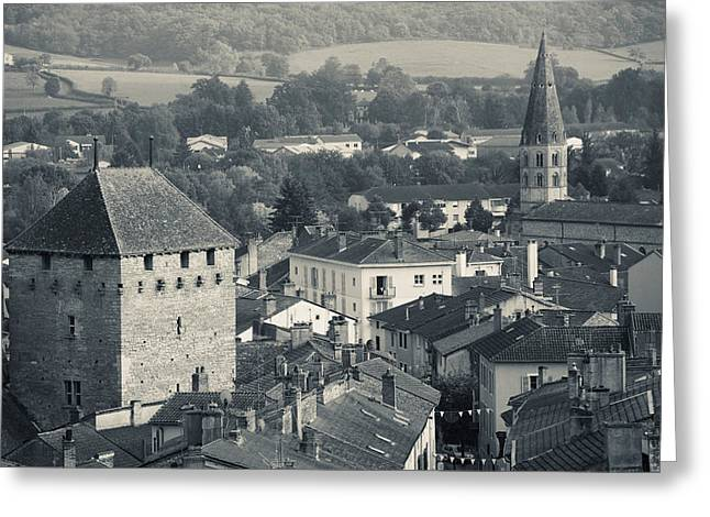 Burgundy Greeting Cards - Abbey In A Town, Cluny Abbey Greeting Card by Panoramic Images