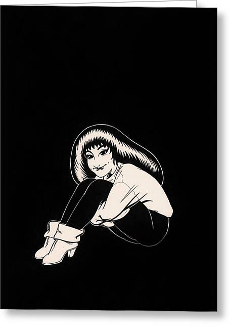 Black Boots Drawings Greeting Cards - Abbey in Boots Against Black Field Greeting Card by Richard Moore