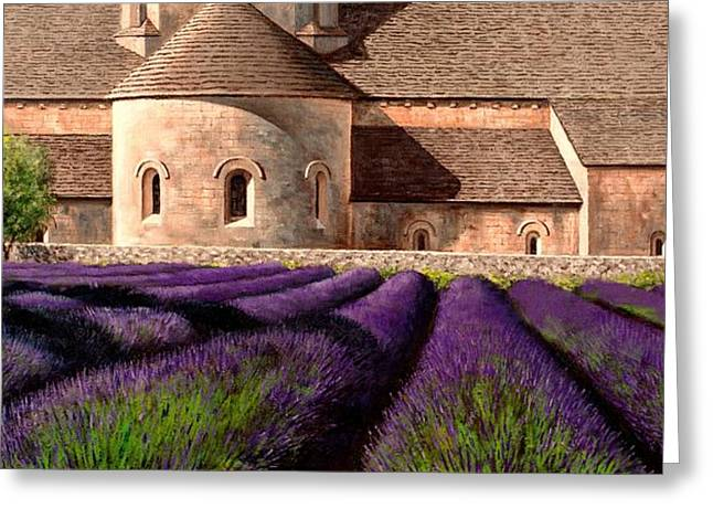 Mediterranean Landscape Greeting Cards - Abbey Lavender Greeting Card by Michael Swanson