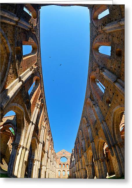 Yellow Line Pyrography Greeting Cards - Abbey of San Galgano 2 Greeting Card by Tommaso De Pilla