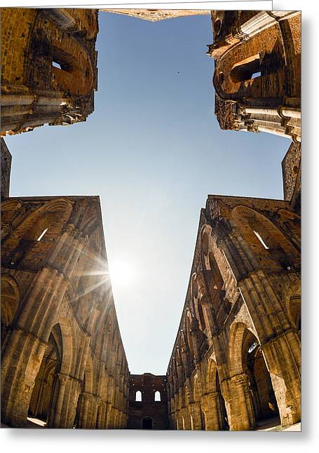 Yellow Line Pyrography Greeting Cards - Abbey of San Galgano 3 Greeting Card by Tommaso De Pilla