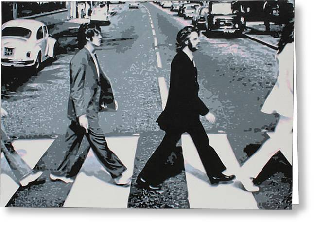Beatles John Lennon Paul Mccartney George Harrison Ringo Starr Music Rock Icon Greeting Cards - Abbey Road 2013 Greeting Card by Luis Ludzska