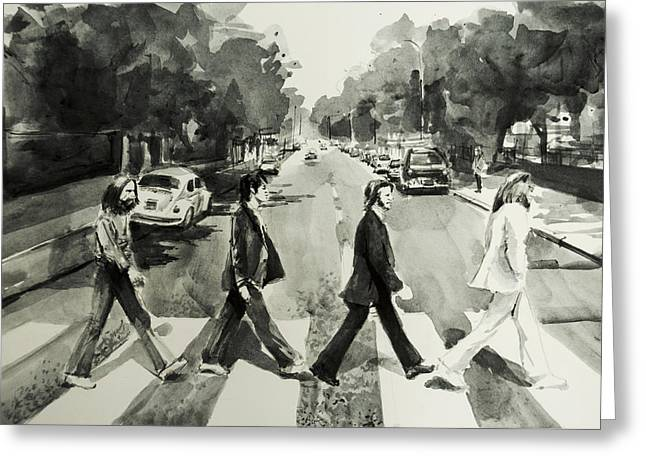 Paul Mccartney Drawings Greeting Cards - Abbey Road Greeting Card by MB Art factory
