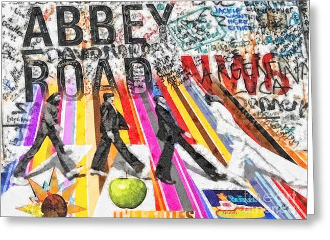 Lennon Mixed Media Greeting Cards - Abbey Road Greeting Card by Mo T
