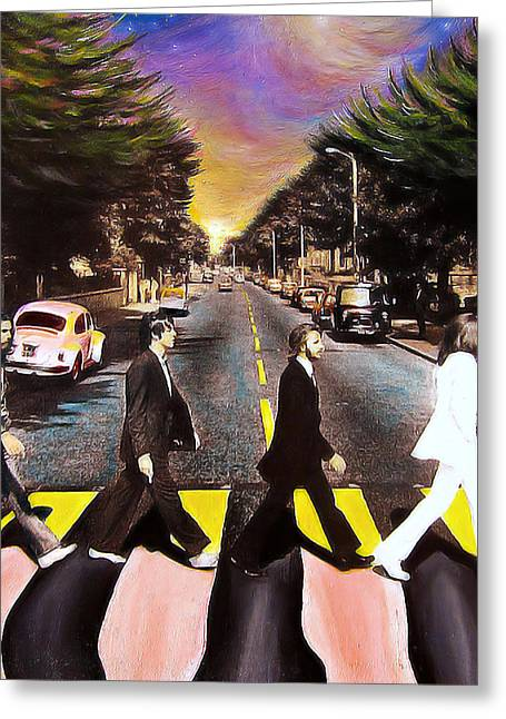 Rock And Roll Paintings Greeting Cards - Abbey Road Greeting Card by Steve Will