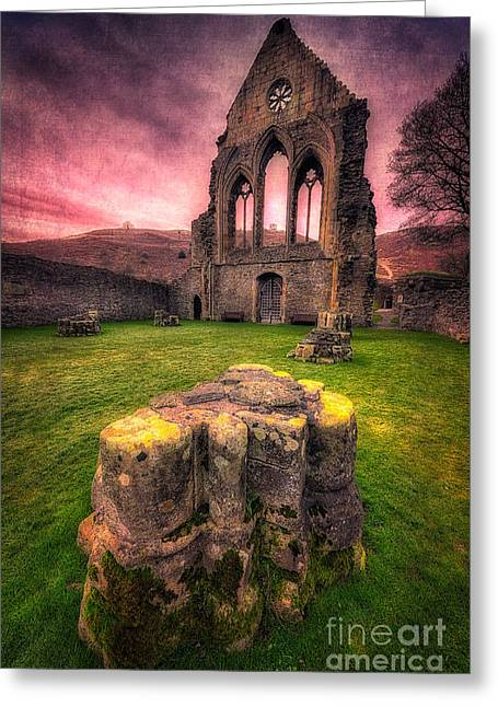 Fall Grass Greeting Cards - Abbey Ruin Greeting Card by Adrian Evans