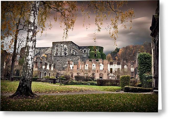 Abandoned Houses Greeting Cards - abbey ruins Villers la ville Belgium Greeting Card by Dirk Ercken