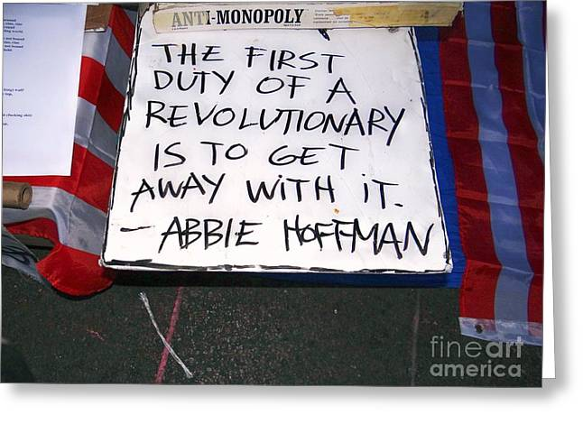 Occupy Greeting Cards - Abbie Hoffman Greeting Card by Ed Weidman