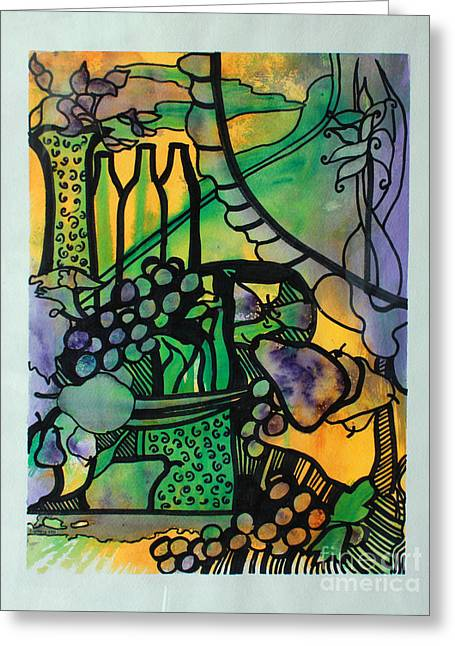 Table Wine Mixed Media Greeting Cards - Abbondanza Greeting Card by Catherine Sprague
