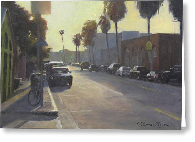 Santa Monica Greeting Cards - Abbot Kinney Sunset Greeting Card by Anna Bain