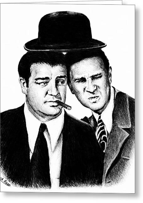 1950s Portraits Drawings Greeting Cards - Abbott and Costello Greeting Card by Andrew Read