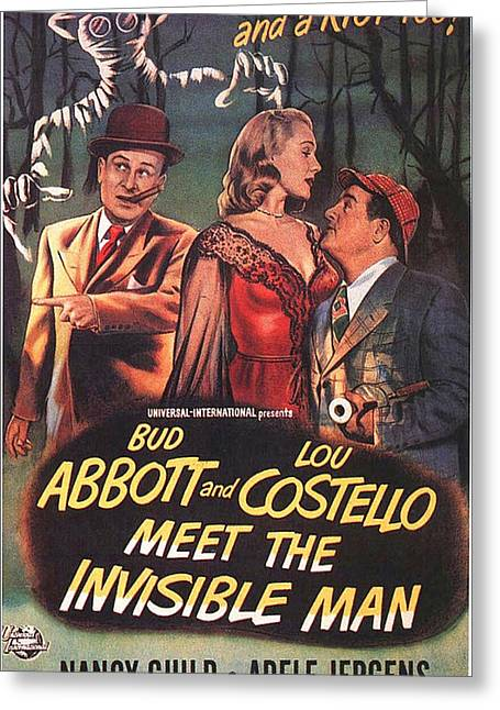 Costello Greeting Cards - Abbott and Costello Meet the Invisible Man  Greeting Card by Movie Poster Prints