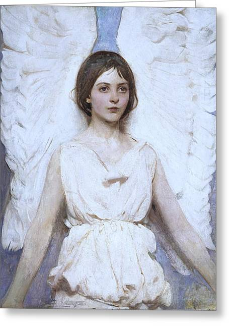 Massachusetts Artist Greeting Cards - Abbott Handerson Thayer Angel 1886 Greeting Card by Movie Poster Prints