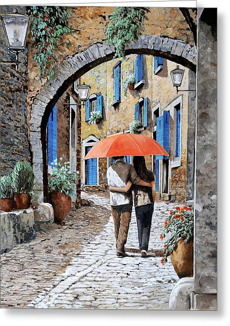 Umbrella Greeting Cards - Abbracciati Sotto Larco Greeting Card by Guido Borelli