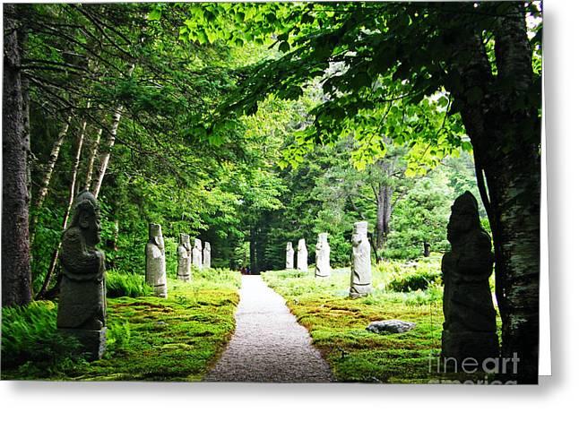 Garden Statuary Greeting Cards - Abby Aldrich Rockefeller Path Statuary Greeting Card by Lizi Beard-Ward