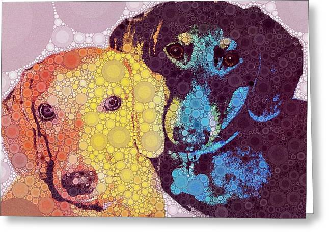Black And Tan Dachshund Greeting Cards - Abby and Simon Greeting Card by Cindy Edwards