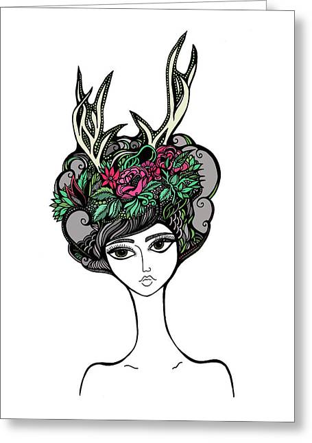 Updo Drawings Greeting Cards - Abby Greeting Card by Jody Pham
