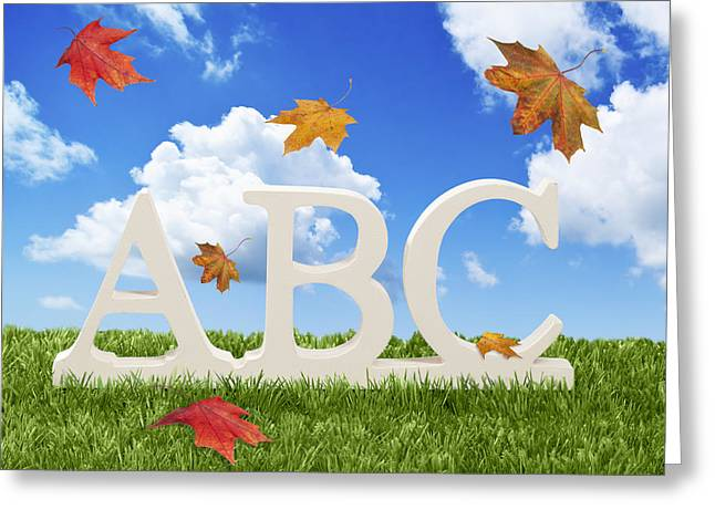 Preschool Greeting Cards - ABC Letters With Autumn Leaves Greeting Card by Amanda And Christopher Elwell