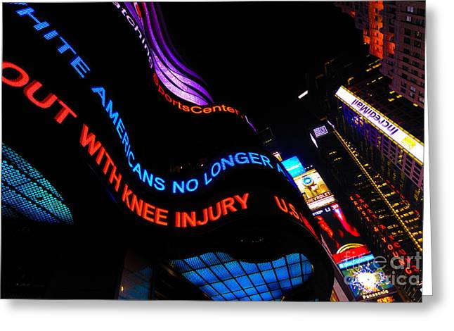 Nighttime Greeting Cards - ABC News Scrolling Marquee in Times Square New York City Greeting Card by Amy Cicconi