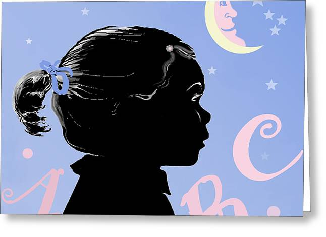 Abc - The Moon And Me Greeting Card by Carol Jacobs