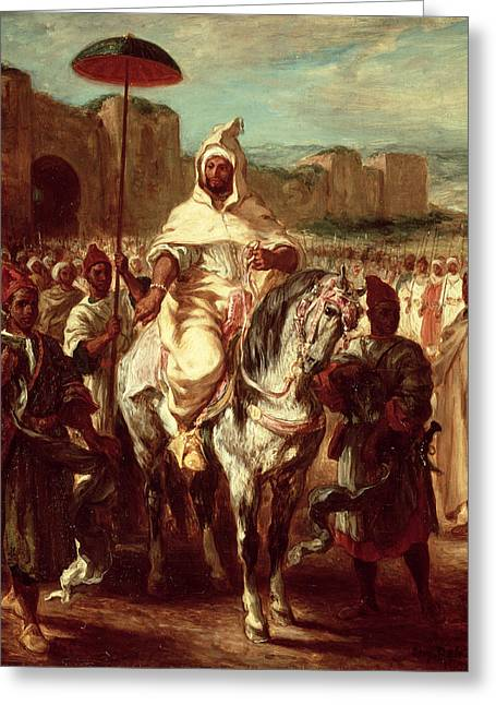 Reverence Greeting Cards - Abd Ar-rahman, Sultan Of Morocco, 1845 Oil On Canvas Greeting Card by Ferdinand Victor Eugene Delacroix