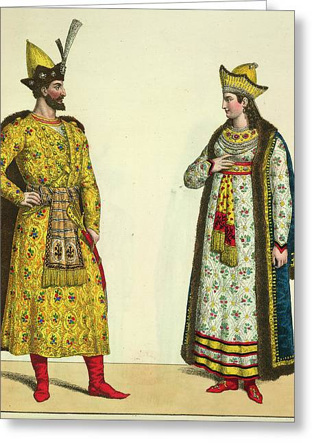 Abdallah And His Wife Greeting Card by British Library