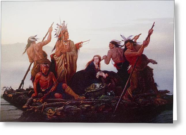 Western Western Art Greeting Cards - Abduction of Boones Daughter Greeting Card by Karl Ferdinand Wimar